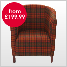 Check and Tartan Pattern Fabric Chairs