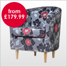 Floral Pattern Fabric Chairs